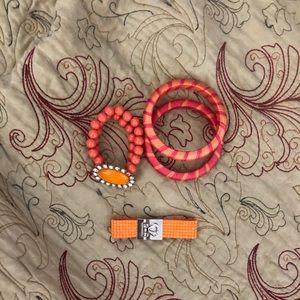 (NWOT) 4 Piece Coral and Orange Bracelet Set
